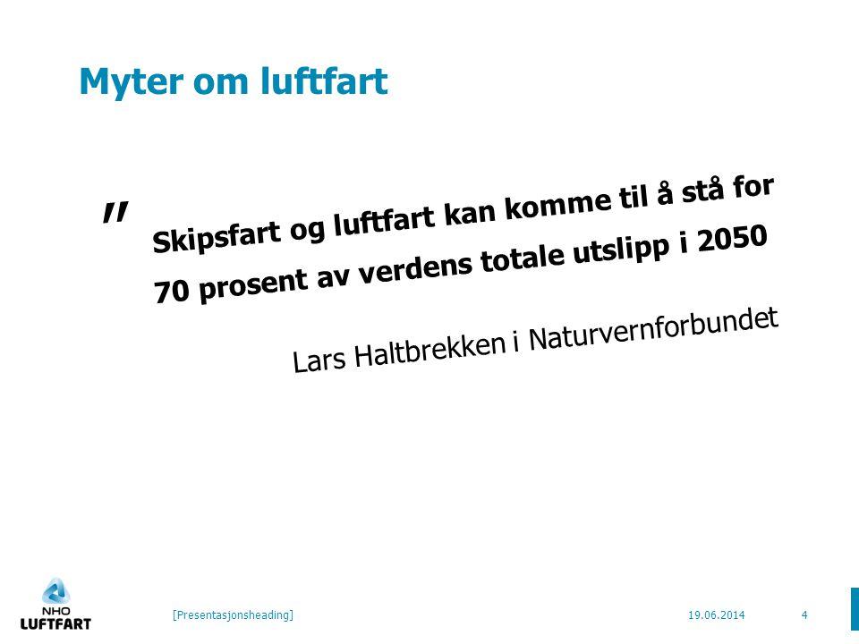 Myter om luftfart Skipsfart og luftfart kan komme til å stå for 70 prosent av verdens totale utslipp i 2050 Lars Haltbrekken i Naturvernforbundet 19.06.2014[Presentasjonsheading]4