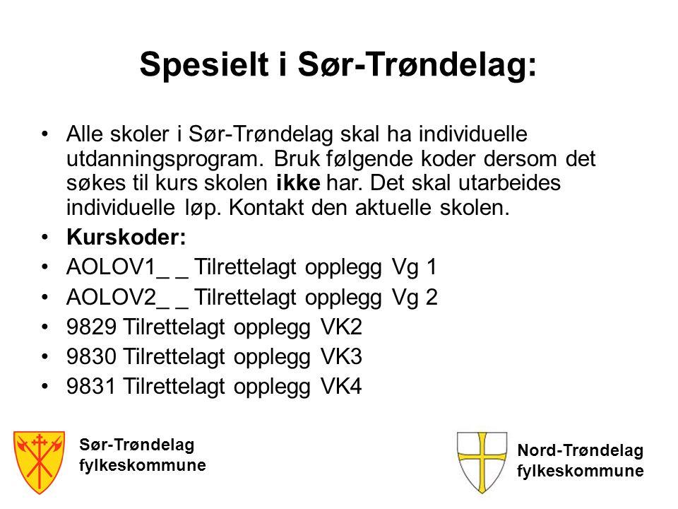 Sør-Trøndelag fylkeskommune Nord-Trøndelag fylkeskommune Spesielt i Sør-Trøndelag: •Alle skoler i Sør-Trøndelag skal ha individuelle utdanningsprogram