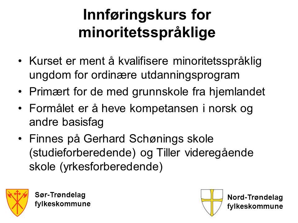 Innføringskurs for minoritetsspråklige •Kurset er ment å kvalifisere minoritetsspråklig ungdom for ordinære utdanningsprogram •Primært for de med grun