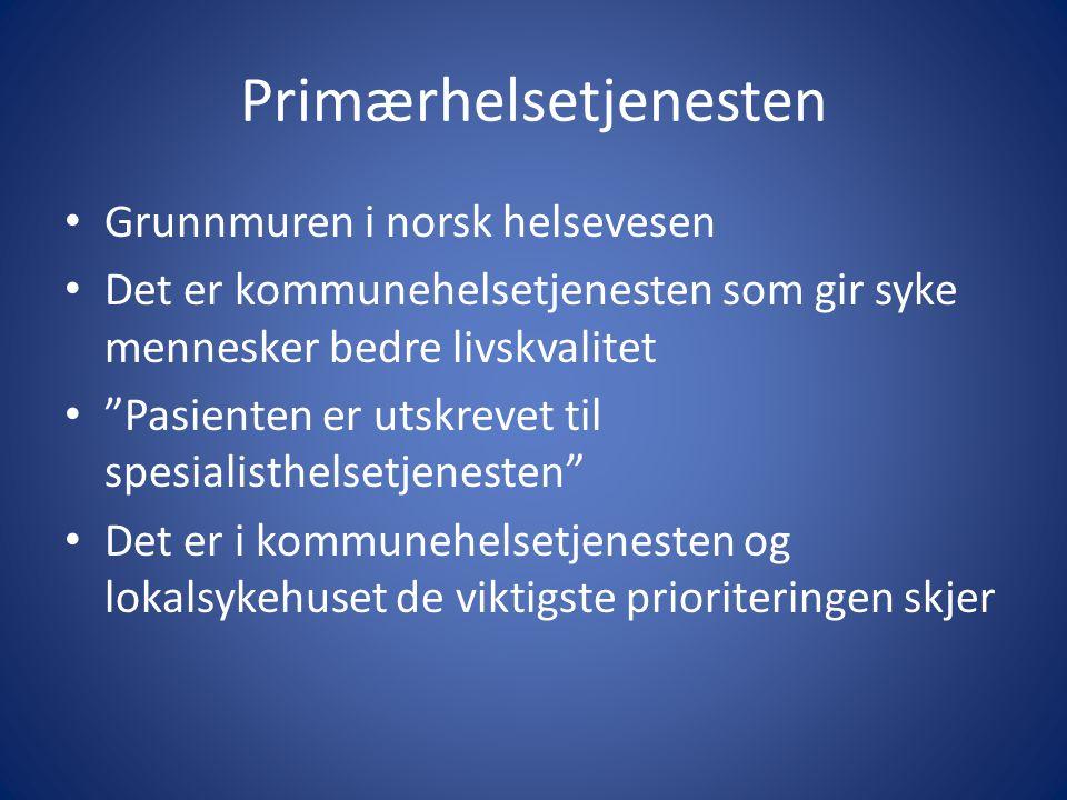 """Primærhelsetjenesten • Grunnmuren i norsk helsevesen • Det er kommunehelsetjenesten som gir syke mennesker bedre livskvalitet • """"Pasienten er utskreve"""