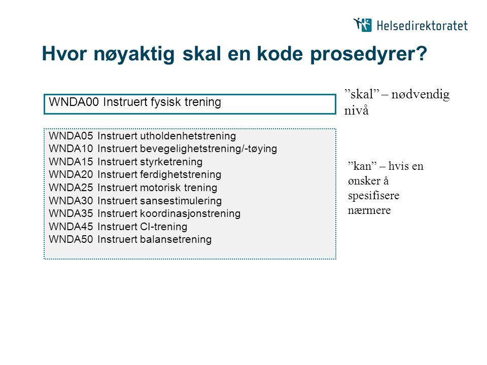 Hvor nøyaktig skal en kode prosedyrer? WNDA05Instruert utholdenhetstrening WNDA10Instruert bevegelighetstrening/-tøying WNDA15Instruert styrketrening