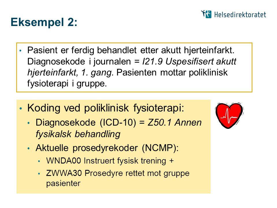 Eksempel 2: • Pasient er ferdig behandlet etter akutt hjerteinfarkt. Diagnosekode i journalen = I21.9 Uspesifisert akutt hjerteinfarkt, 1. gang. Pasie