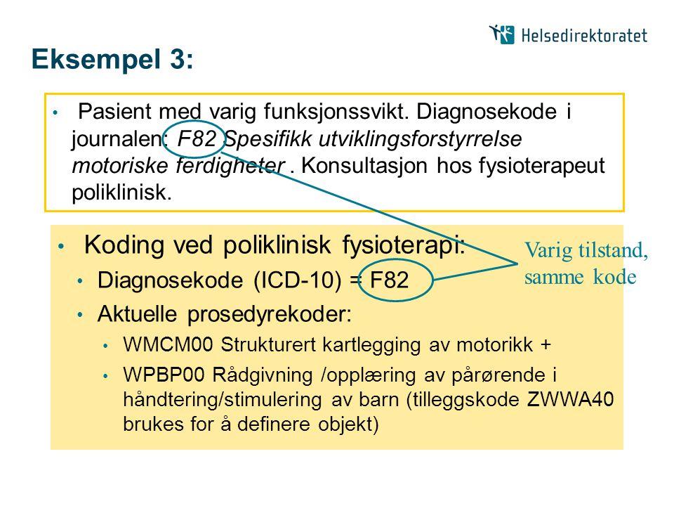 Eksempel 3: • Pasient med varig funksjonssvikt. Diagnosekode i journalen: F82 Spesifikk utviklingsforstyrrelse motoriske ferdigheter. Konsultasjon hos