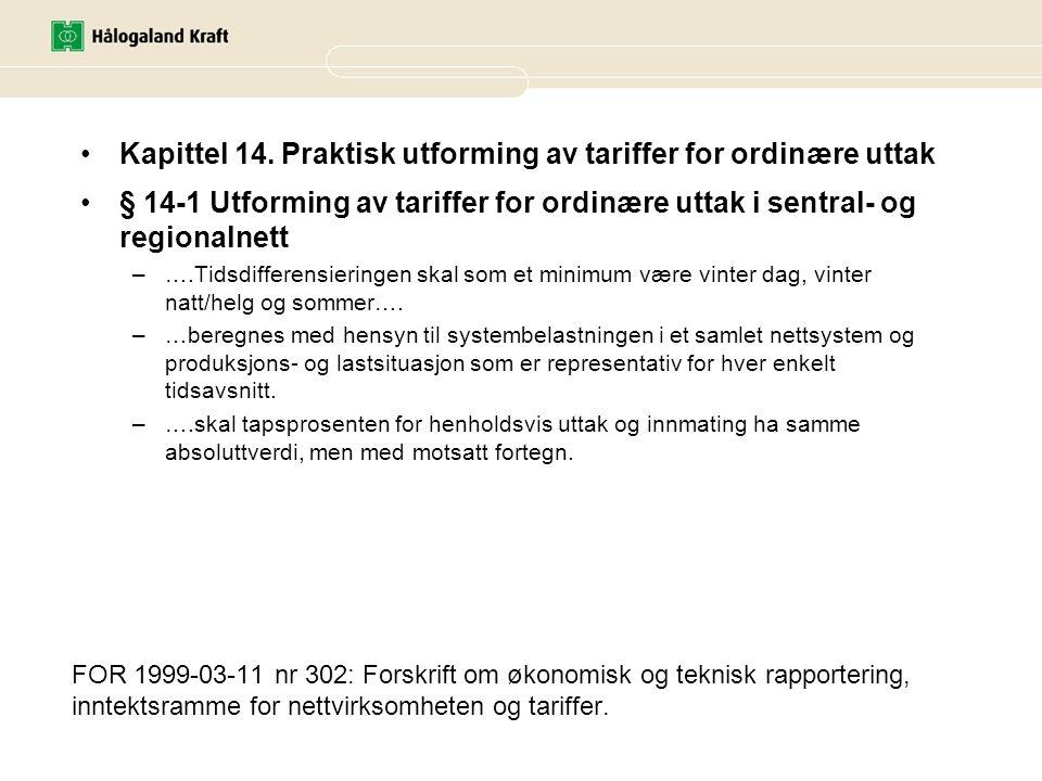 FOR 1999-03-11 nr 302: Forskrift om økonomisk og teknisk rapportering, inntektsramme for nettvirksomheten og tariffer. •Kapittel 14. Praktisk utformin