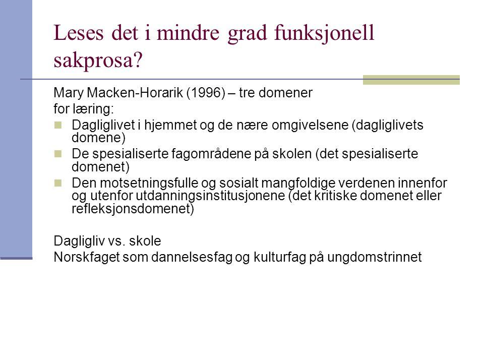 Leses det i mindre grad funksjonell sakprosa? Mary Macken-Horarik (1996) – tre domener for læring:  Dagliglivet i hjemmet og de nære omgivelsene (dag