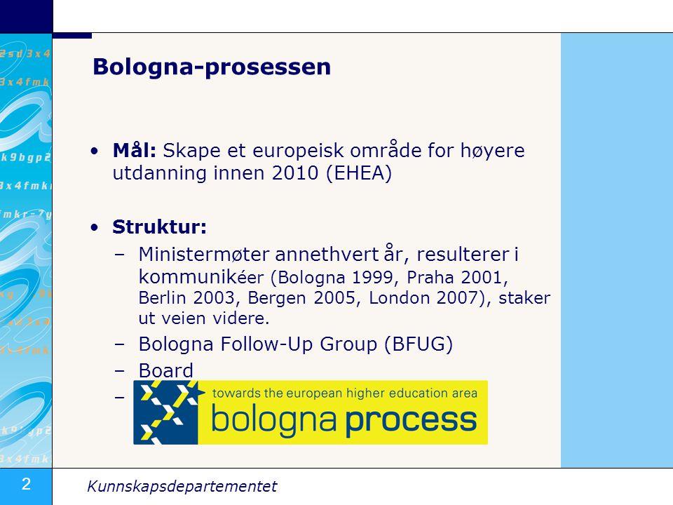 2 Kunnskapsdepartementet •Mål: Skape et europeisk område for høyere utdanning innen 2010 (EHEA) •Struktur: –Ministermøter annethvert år, resulterer i