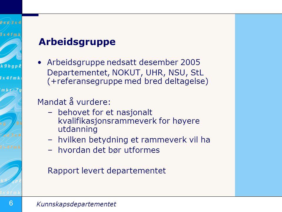 6 Kunnskapsdepartementet Arbeidsgruppe •Arbeidsgruppe nedsatt desember 2005 Departementet, NOKUT, UHR, NSU, StL (+referansegruppe med bred deltagelse)