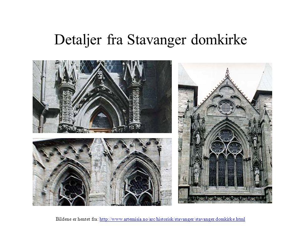 Detaljer fra Stavanger domkirke Bildene er hentet fra: http://www.artemisia.no/arc/historisk/stavanger/stavanger.domkirke.htmlhttp://www.artemisia.no/