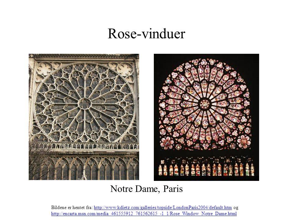 Rose-vinduer Notre Dame, Paris Bildene er hentet fra: http://www.kdietz.com/galleries/topside/LondonParis2004/default.htm oghttp://www.kdietz.com/gall