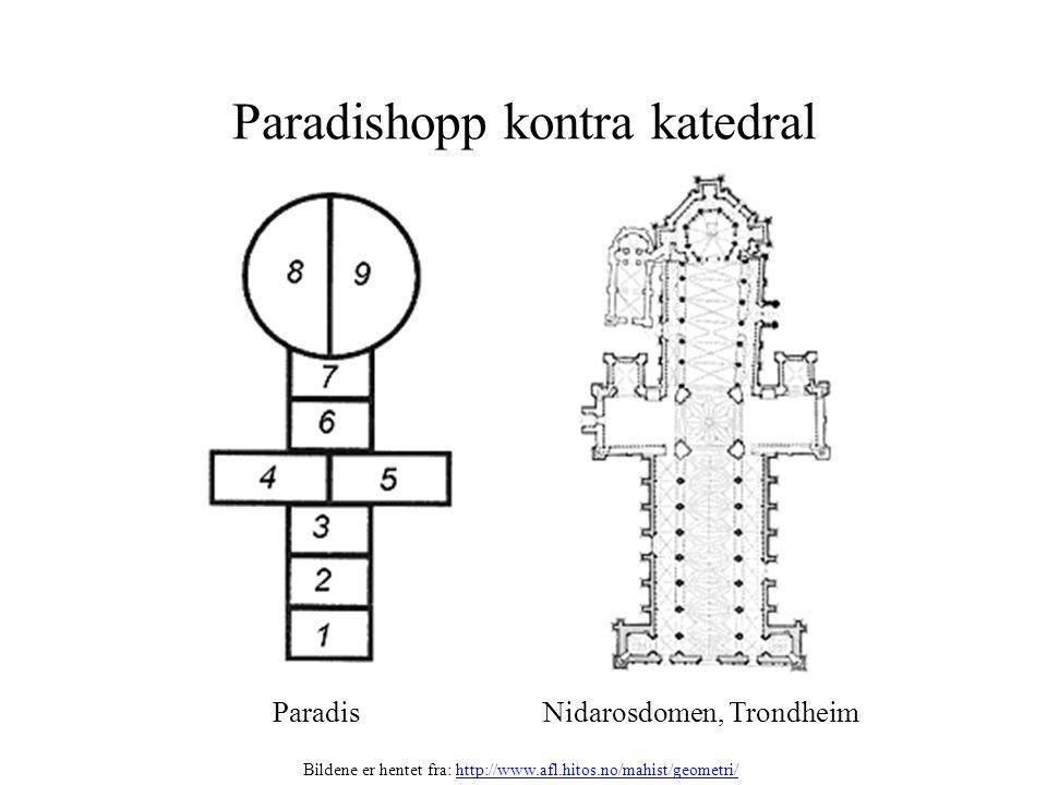 Paradishopp kontra katedral Paradis Nidarosdomen, Trondheim Bildene er hentet fra: http://www.afl.hitos.no/mahist/geometri/http://www.afl.hitos.no/mah