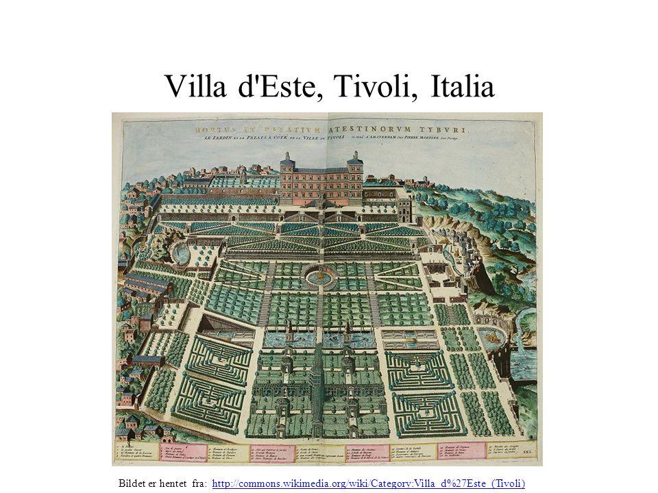 Villa d'Este, Tivoli, Italia Bildet er hentet fra: http://commons.wikimedia.org/wiki/Category:Villa_d%27Este_(Tivoli)http://commons.wikimedia.org/wiki