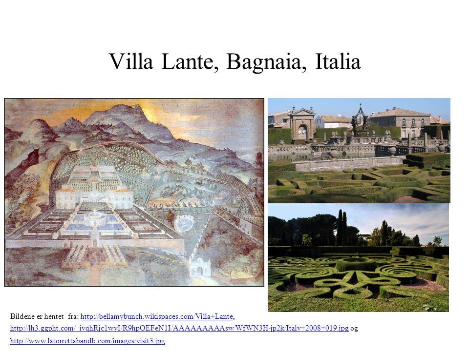 Villa Lante, Bagnaia, Italia Bildene er hentet fra: http://bellamybunch.wikispaces.com/Villa+Lante, http://lh3.ggpht.com/_ivqhRjc1wyI/R9hpOEFeN1I/AAAA