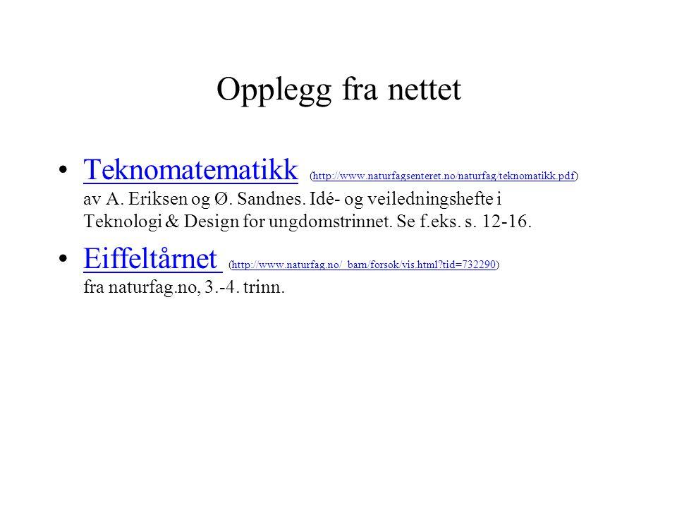 Opplegg fra nettet •Teknomatematikk (http://www.naturfagsenteret.no/naturfag/teknomatikk.pdf) av A. Eriksen og Ø. Sandnes. Idé- og veiledningshefte i