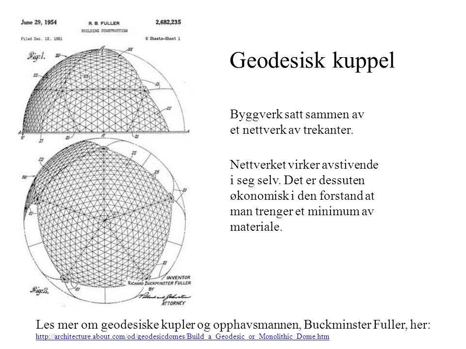 Geodesisk kuppel Les mer om geodesiske kupler og opphavsmannen, Buckminster Fuller, her: http://architecture.about.com/od/geodesicdomes/Build_a_Geodes