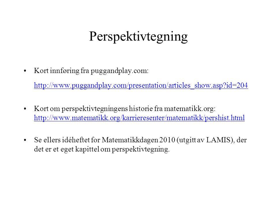 Perspektivtegning •Kort innføring fra puggandplay.com: http://www.puggandplay.com/presentation/articles_show.asp?id=204 http://www.puggandplay.com/pre
