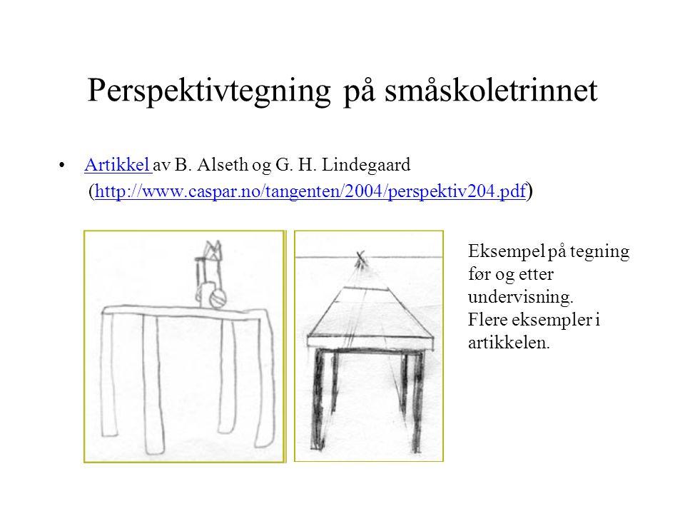 Perspektivtegning på småskoletrinnet •Artikkel av B. Alseth og G. H. Lindegaard (http://www.caspar.no/tangenten/2004/perspektiv204.pdf )Artikkel http: