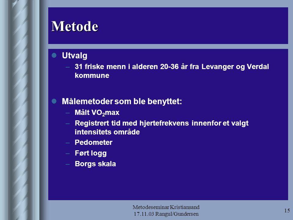 Metodeseminar Kristiansand 17.11.03 Rangul/Gundersen 16 Klassifisering av intensitet basert på tre metoder Relativ intensitet (%) Klassifisering av intensitet på SFA a HRmaxVO2maxRPEUtviklet HUNT 1HUNT 2 < 35%< 30%< 9 35-59%30-49%10-11Lett aktivitet 60-79%50-74%12-13 Hard fysisk aktivitet 80-89%75-84%14-16 ≥ 90%≥ 85%>16Tar seg nesten helt ut a SFA = selvrapportert fysisk aktivitet