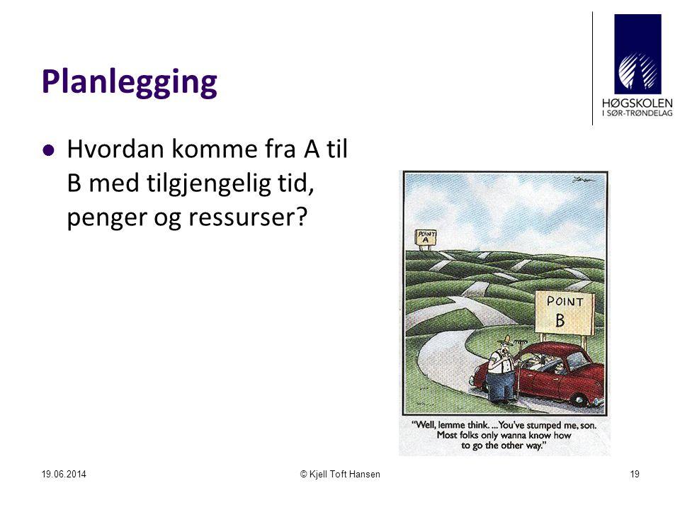 Planlegging  Hvordan komme fra A til B med tilgjengelig tid, penger og ressurser? 19.06.2014© Kjell Toft Hansen19