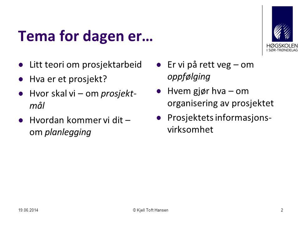 Tema for dagen er…  Litt teori om prosjektarbeid  Hva er et prosjekt?  Hvor skal vi – om prosjekt- mål  Hvordan kommer vi dit – om planlegging  E