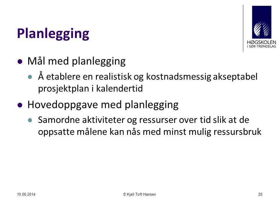 Planlegging  Mål med planlegging  Å etablere en realistisk og kostnadsmessig akseptabel prosjektplan i kalendertid  Hovedoppgave med planlegging 