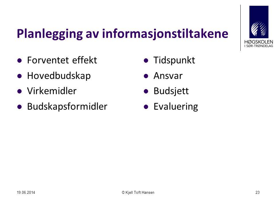 Planlegging av informasjonstiltakene  Forventet effekt  Hovedbudskap  Virkemidler  Budskapsformidler  Tidspunkt  Ansvar  Budsjett  Evaluering