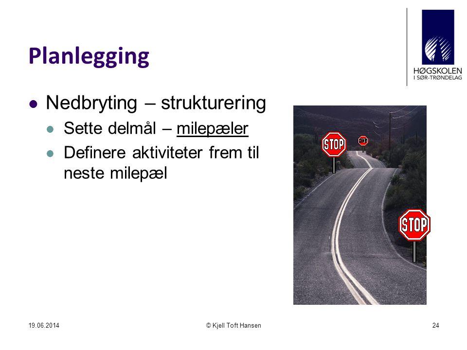 Planlegging  Nedbryting – strukturering  Sette delmål – milepæler  Definere aktiviteter frem til neste milepæl 19.06.2014© Kjell Toft Hansen24