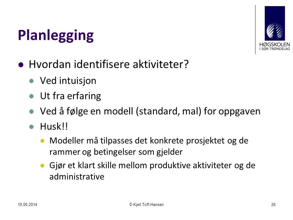 Planlegging  Hvordan identifisere aktiviteter?  Ved intuisjon  Ut fra erfaring  Ved å følge en modell (standard, mal) for oppgaven  Husk!!  Mode