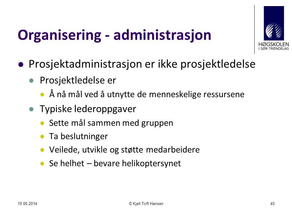 Organisering - administrasjon  Prosjektadministrasjon er ikke prosjektledelse  Prosjektledelse er  Å nå mål ved å utnytte de menneskelige ressursen