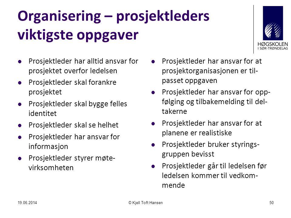 Organisering – prosjektleders viktigste oppgaver  Prosjektleder har alltid ansvar for prosjektet overfor ledelsen  Prosjektleder skal forankre prosj