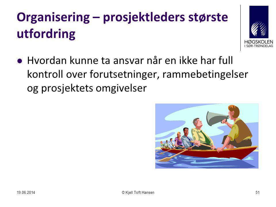 Organisering – prosjektleders største utfordring  Hvordan kunne ta ansvar når en ikke har full kontroll over forutsetninger, rammebetingelser og pros