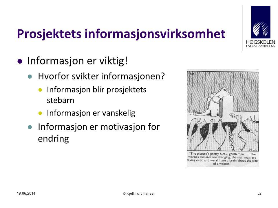 Prosjektets informasjonsvirksomhet  Informasjon er viktig!  Hvorfor svikter informasjonen?  Informasjon blir prosjektets stebarn  Informasjon er v