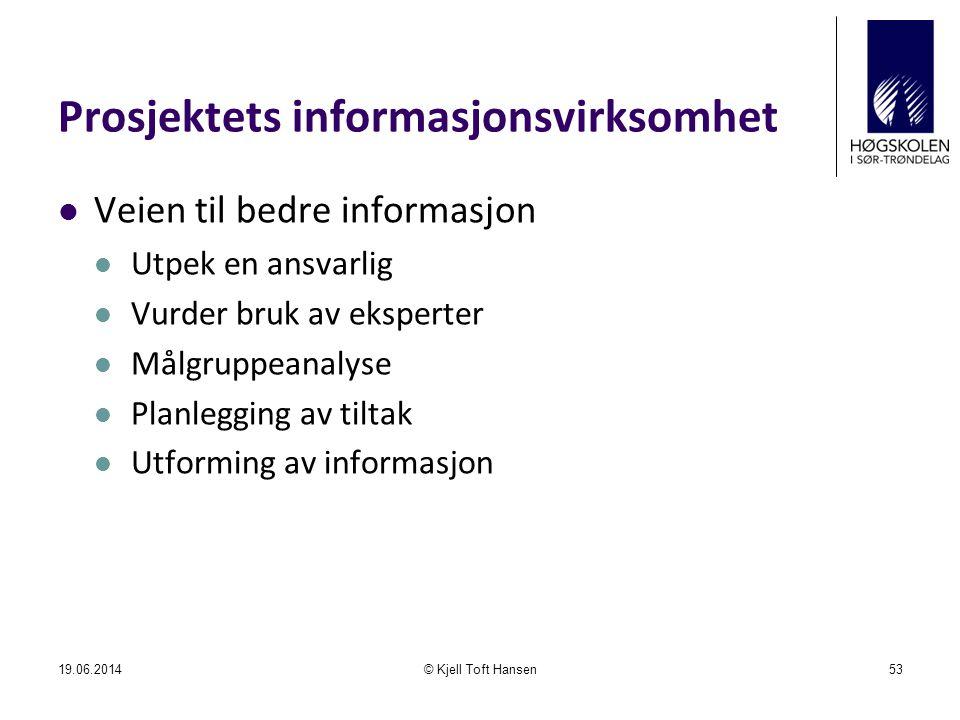 Prosjektets informasjonsvirksomhet  Veien til bedre informasjon  Utpek en ansvarlig  Vurder bruk av eksperter  Målgruppeanalyse  Planlegging av t