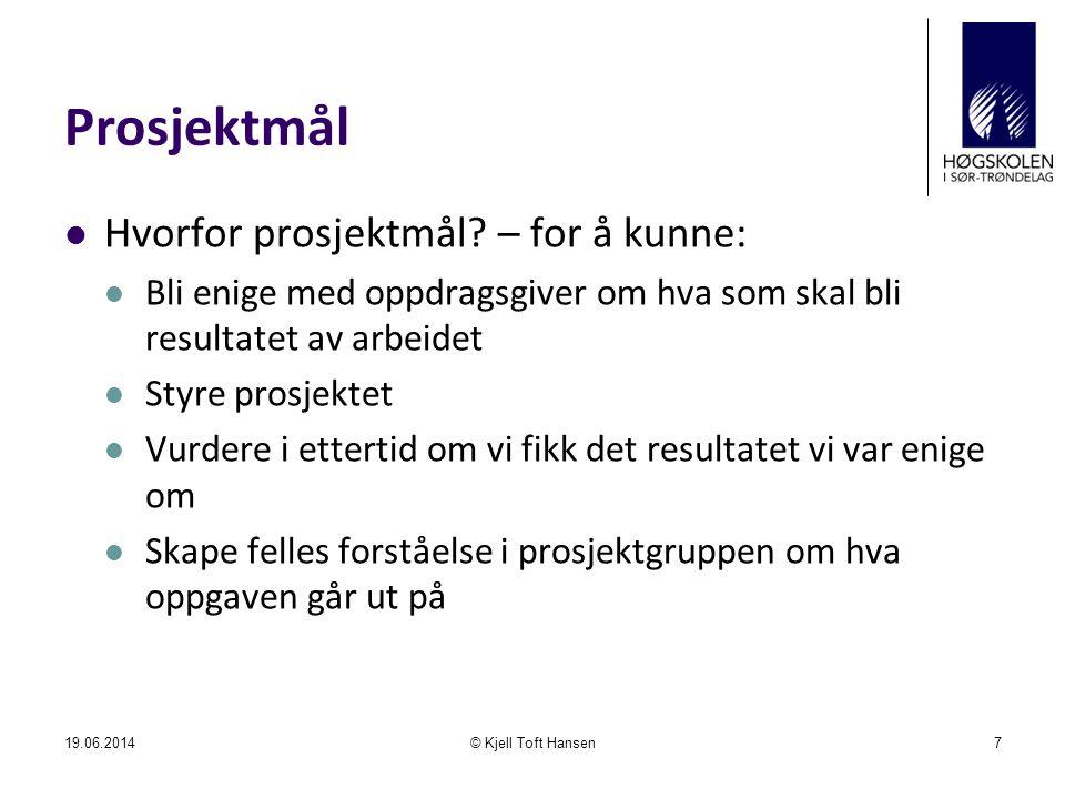 Planlegging 19.06.2014© Kjell Toft Hansen18 Mål- formulering Opp- følging Plan- legging Gjennomføring Tiltak Mål Planer Tiltak Rapporter