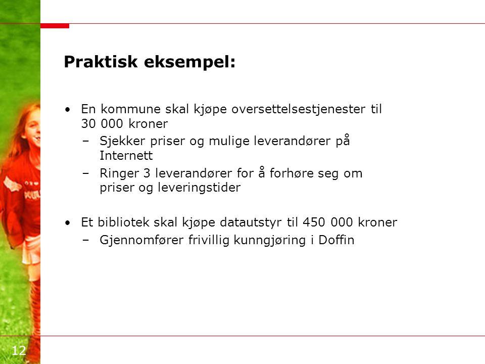 12 Praktisk eksempel: •En kommune skal kjøpe oversettelsestjenester til 30 000 kroner –Sjekker priser og mulige leverandører på Internett –Ringer 3 le