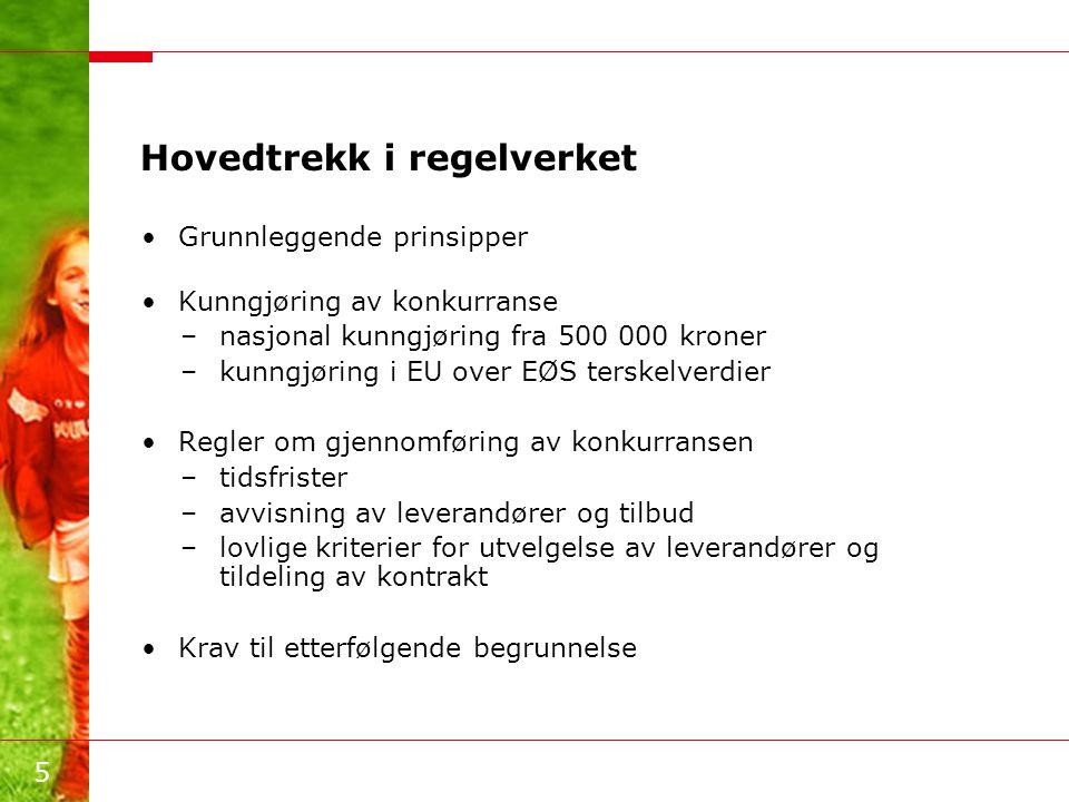 5 Hovedtrekk i regelverket •Grunnleggende prinsipper •Kunngjøring av konkurranse –nasjonal kunngjøring fra 500 000 kroner –kunngjøring i EU over EØS t