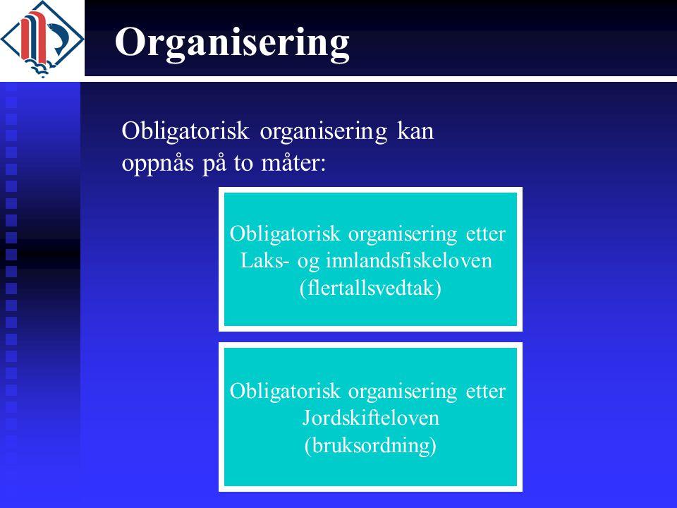 Organisering Obligatorisk organisering etter Laks- og innlandsfiskeloven (flertallsvedtak) Obligatorisk organisering etter Jordskifteloven (bruksordni