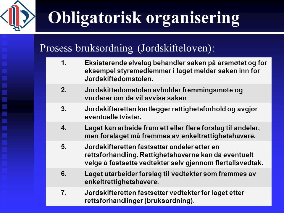 1.Eksisterende elvelag behandler saken på årsmøtet og for eksempel styremedlemmer i laget melder saken inn for Jordskiftedomstolen. 2.Jordskittedomsto
