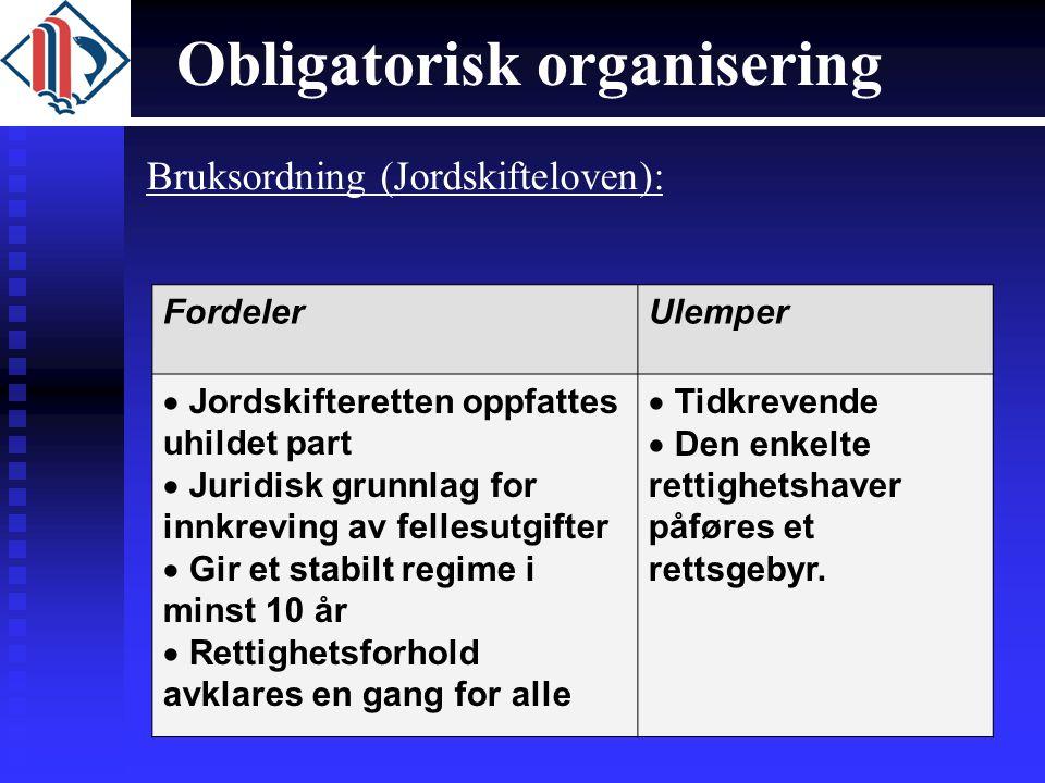 Obligatorisk organisering Bruksordning (Jordskifteloven): FordelerUlemper  Jordskifteretten oppfattes uhildet part  Juridisk grunnlag for innkreving
