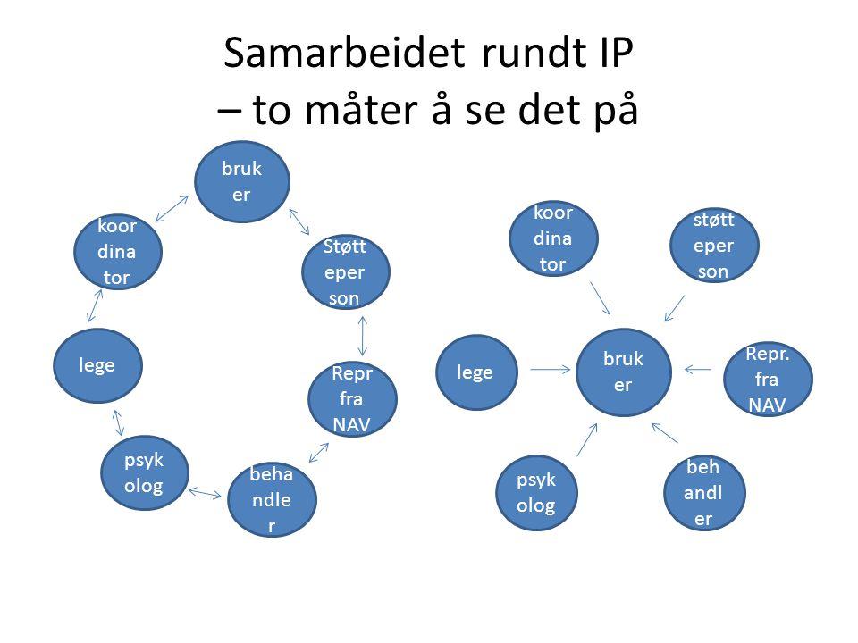 Samarbeidet rundt IP – to måter å se det på koor dina tor bruk er Støtt eper son beha ndle r Repr fra NAV lege psyk olog støtt eper son koor dina tor