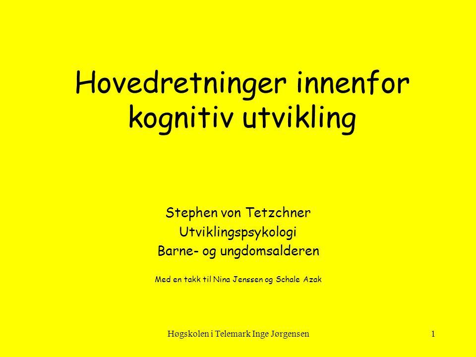 Høgskolen i Telemark Inge Jørgensen12 Skjema Piaget skiller mellom 3 ulike typer skjema •Handlingsskjema •Symbolske skjema •Operasjonelle skjema Barnets utviklingsnivå bestemmer hvilke typer skjema barnet kan ha