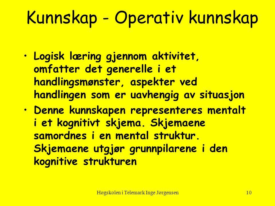 Høgskolen i Telemark Inge Jørgensen10 Kunnskap - Operativ kunnskap •Logisk læring gjennom aktivitet, omfatter det generelle i et handlingsmønster, asp