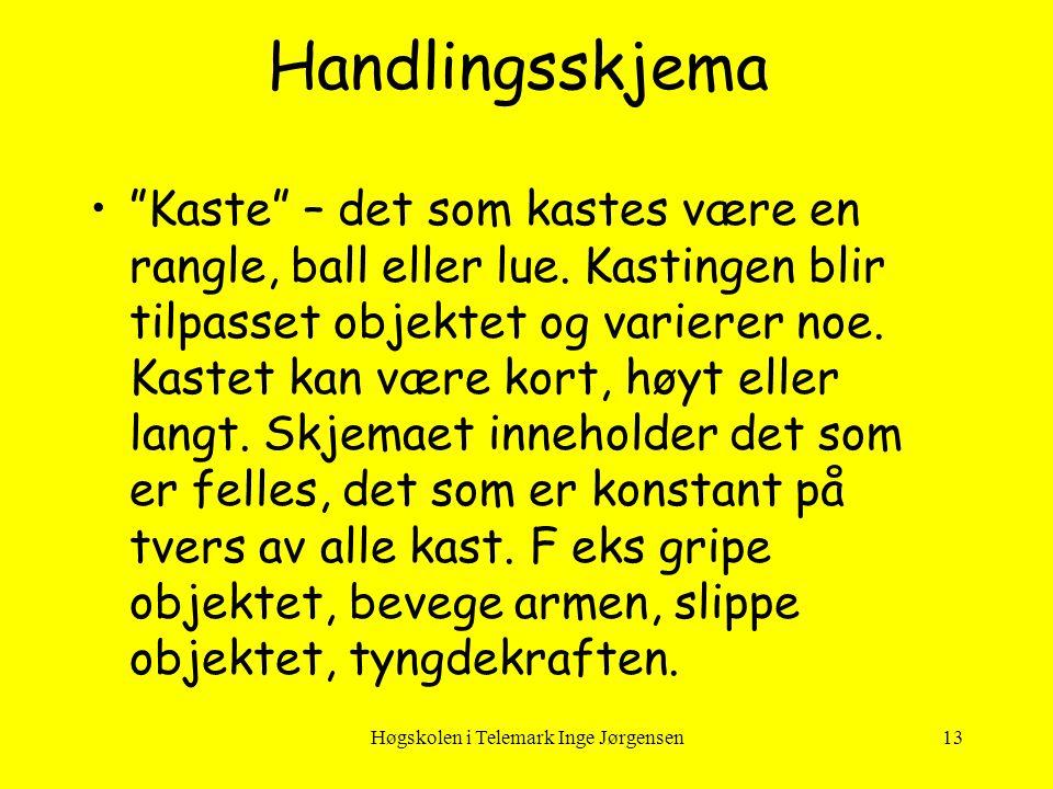"""Høgskolen i Telemark Inge Jørgensen13 •""""Kaste"""" – det som kastes være en rangle, ball eller lue. Kastingen blir tilpasset objektet og varierer noe. Kas"""
