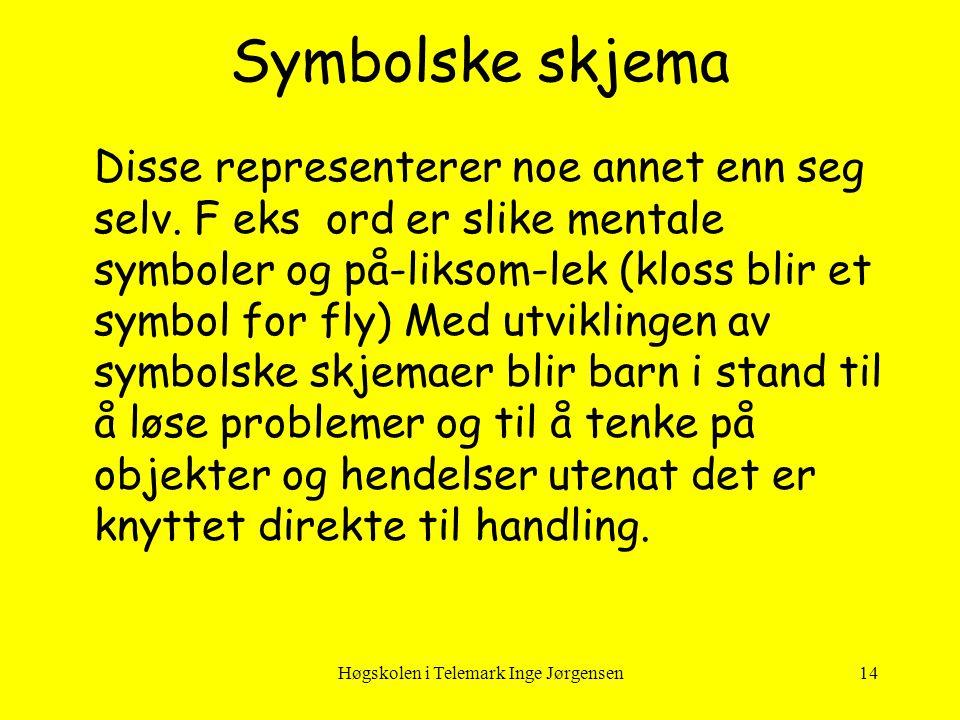 Høgskolen i Telemark Inge Jørgensen14 Disse representerer noe annet enn seg selv. F eks ord er slike mentale symboler og på-liksom-lek (kloss blir et
