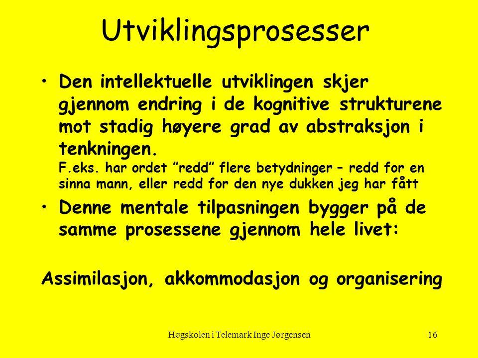 Høgskolen i Telemark Inge Jørgensen16 Utviklingsprosesser •Den intellektuelle utviklingen skjer gjennom endring i de kognitive strukturene mot stadig