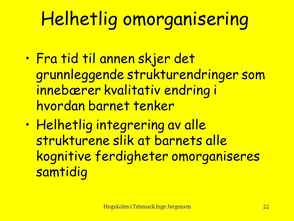 Høgskolen i Telemark Inge Jørgensen22 Helhetlig omorganisering •Fra tid til annen skjer det grunnleggende strukturendringer som innebærer kvalitativ e