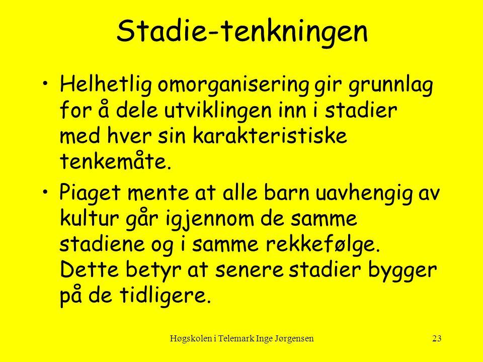Høgskolen i Telemark Inge Jørgensen23 Stadie-tenkningen •Helhetlig omorganisering gir grunnlag for å dele utviklingen inn i stadier med hver sin karak