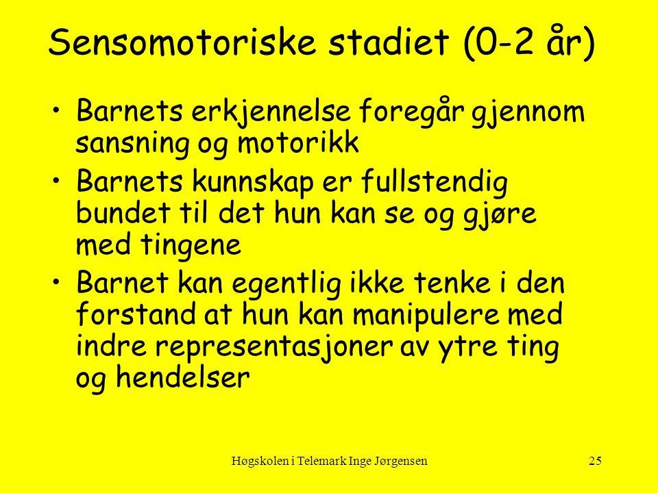 Høgskolen i Telemark Inge Jørgensen25 Sensomotoriske stadiet (0-2 år) •Barnets erkjennelse foregår gjennom sansning og motorikk •Barnets kunnskap er f