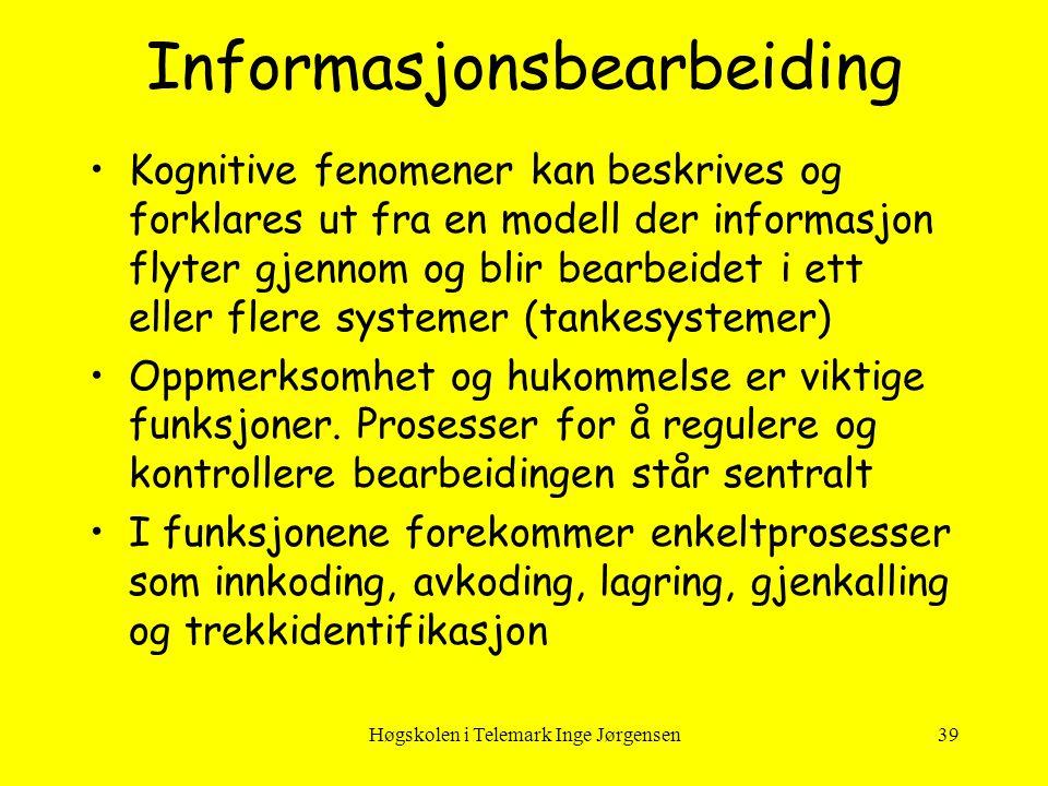Høgskolen i Telemark Inge Jørgensen39 Informasjonsbearbeiding •Kognitive fenomener kan beskrives og forklares ut fra en modell der informasjon flyter