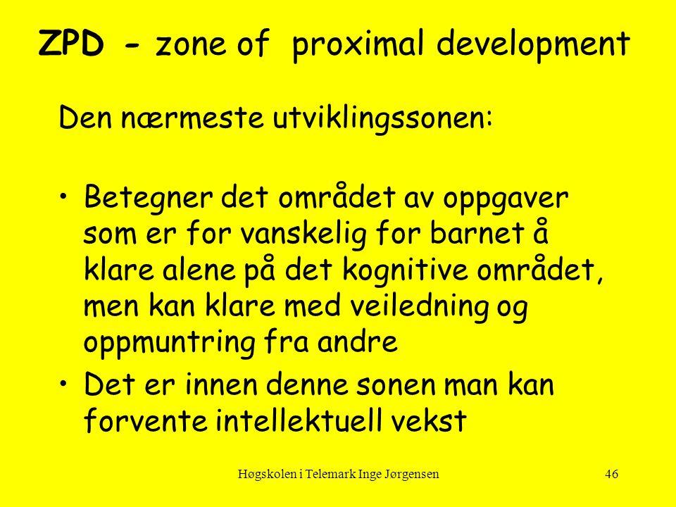 Høgskolen i Telemark Inge Jørgensen46 ZPD - zone of proximal development Den nærmeste utviklingssonen: •Betegner det området av oppgaver som er for va