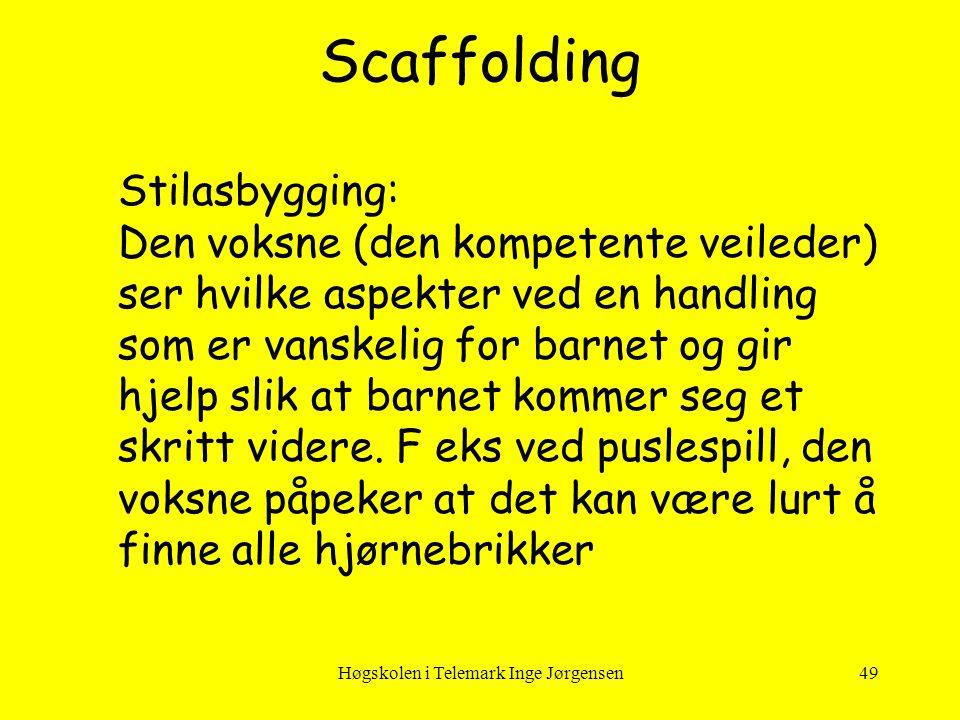 Høgskolen i Telemark Inge Jørgensen49 Scaffolding Stilasbygging: Den voksne (den kompetente veileder) ser hvilke aspekter ved en handling som er vansk